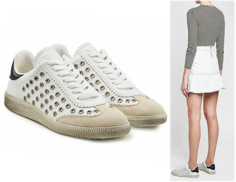 ISABEL MARANT 41 Bryce Eyelet Studded Low Top White Leather Suede Sneakers 10