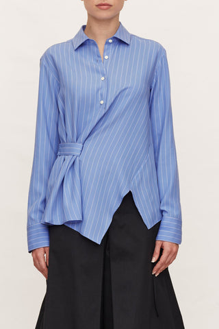 PALMER HARDING Blue Chalk Striped Twisted Shirt Button Blouse UK 6 US 0 2