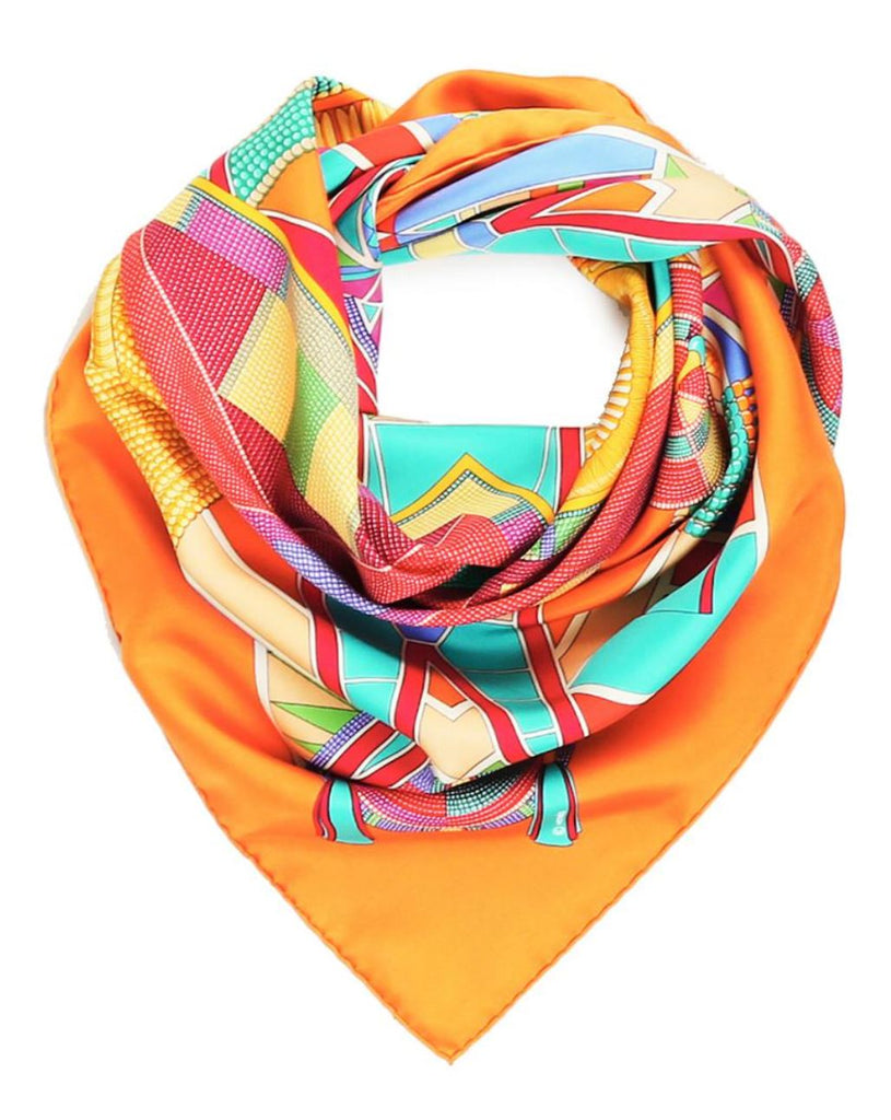 HERMES L'Art Indiens Des Plaines Silk Twill Scarf 90cm AUTHENTIC MINT