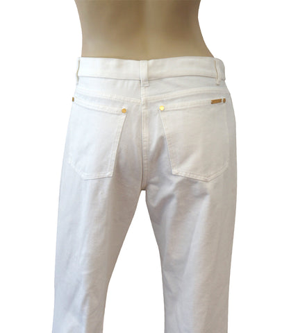 MICHAEL KORS COLLECTION White Cotton Mid Rise Flared Leg Jeans 10 BRAND NEW