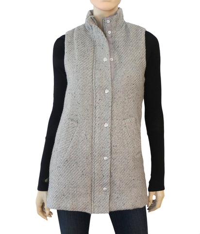 DYLAN Heather Gray Long Zip Moto Pile Lined Vest S M NEW WITH TAGS