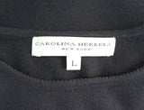 CAROLINA HERRERA Black Cashmere Knit Pointelle Trim Sht Slv Sweater Top L