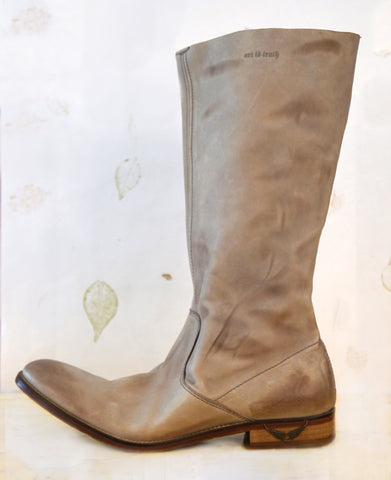 ZADIG & VOLTAIRE 39 Distressed Taupe Leather Boots 8.5 NEW