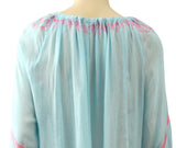 STELLA H Embroidered Blue Cotton Gauze Tunic Top Swim Cover-Up ONE SIZE NEW