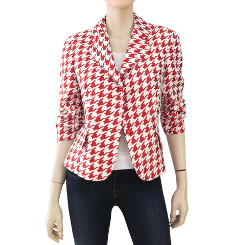 CH CAROLINA HERRERA Red and White Houndstooth Blazer Jacket 10