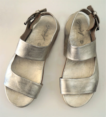 MARSELL 35 Silver Leather Natural Wood Gradone Two Strap Platform Sandals 5