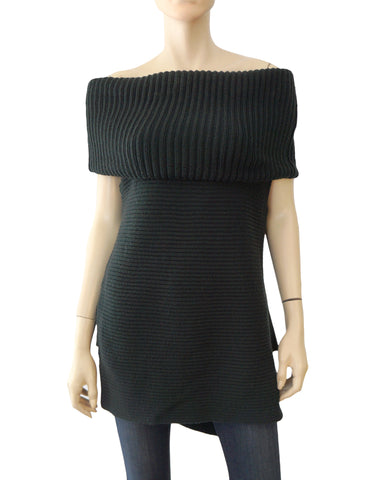 WORTH Black Wool Ribbed Knit Sweater S