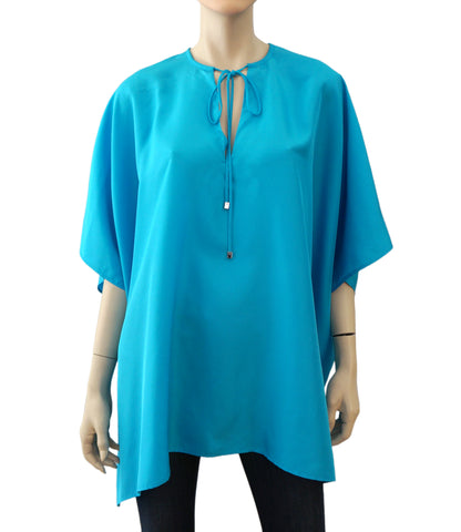 RALPH LAUREN BLACK LABEL Turquoise Blue Silk Oversize Tunic Top XS NEW