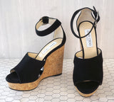 JIMMY CHOO 40 Neyo Black Suede Cork Wedge Sandals Circle Cut Out 9.5