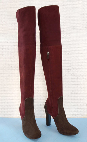 COSTUME NATIONAL 36 Maroon Brown Suede Over Knee Boots US 6 NEW