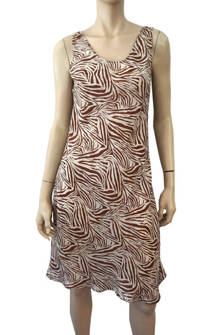 CHAN LUU Sleeveless Animal Print Silk Organza Dress Cover Up Belt Sash M