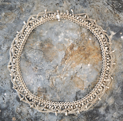 VINTAGE Silver Rajasthani Asian Indian Tribal Necklace Collar Choker 77 gram 17i