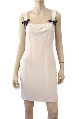 ANNA MOLINARI Sleeveless Ribbon Embellished Cream Beige Crepe Mini Dress 44 US 8