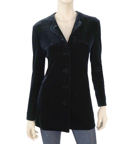 GIORGIO ARMANI Velvet Button Down Top/Jacket, Sz 4