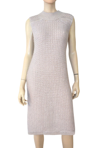 RICK OWENS Sleeveless Pearl Gray Mohair Blend Sweater Tunic Dress 8
