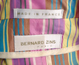 BERNARD ZINS PARIS Striped Silk Blouse, Sz 8