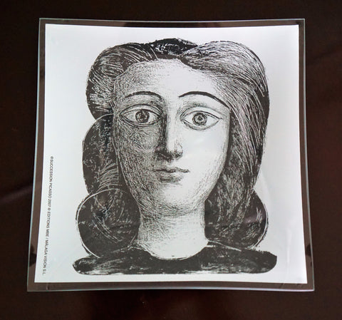 SUCCESSION PICASSO 2007 Women's Face Collectible Etched Glass Plate BRAND NEW
