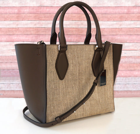 MICHAEL KORS COLLECTION Olive Linen Canvas Leather Tote Shoulder Bag
