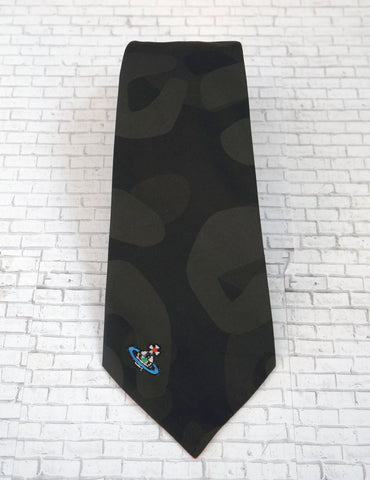 VIVIENNE WESTWOOD Men's Oribt Print Gray Black Crepe Tie NEW