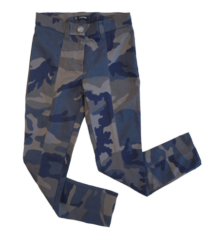 JAKIOO Girls 10 Blue Gray Cotton Denim Camouflage Pants NWT