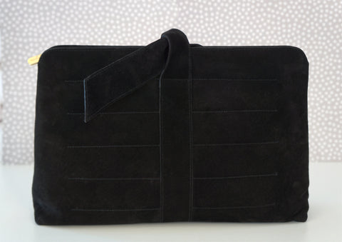 SALVATORE FERRAGAMO Vintage Pleated Black Suede Clutch Bag