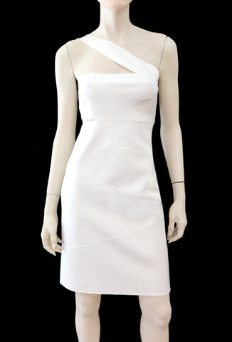 MICHAEL KORS COLLECTION Ivory White Double Crepe One Shoulder Cut Out Dress 6