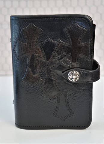 CHROME HEARTS Black Leather 4 Cemetary Cross Agenda Day Planner UNISEX