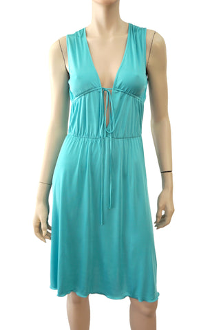 MOSCHINO CHEAP & CHIC Aqua Blue Green Silk Jersey Dress 4 New With Tags