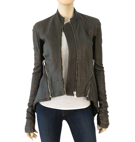 RICK OWENS Women's Leather Jacket Dark Shadow Gray Peplum 40 US 4 NEW
