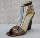 JIMMY CHOO 40 Milan Perforated Silver Pewter Leather T-Strap Wedge Sandal 9.5