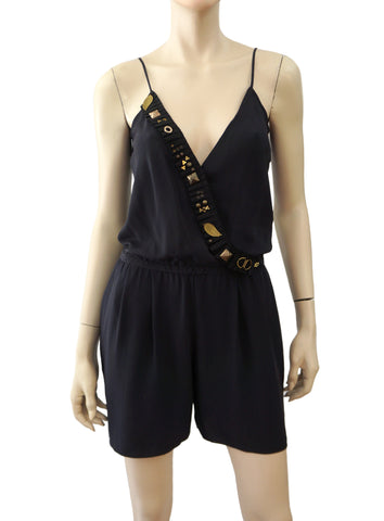 VENA CAVA Embellished Navy Blue Silk Romper Playsuit 2 NEW