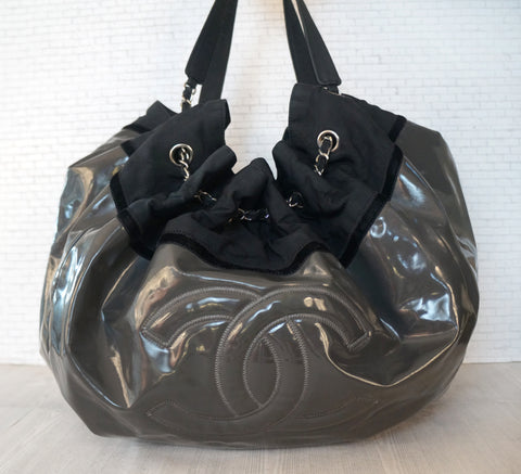 CHANEL Charcoal Gray Vinyl Stretch Spirit Extra Large Cabas Tote Bag AUTHENTIC