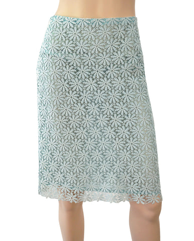 MICHAEL KORS COLLECTION Skirt Blue Floral Lace Scalloped Cotton Pencil 2 NEW