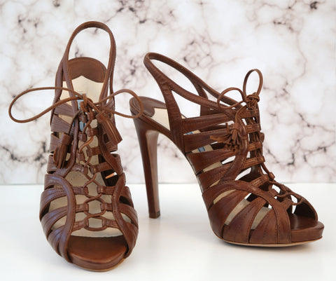 PRADA 38.5 Brown Leather Caged Lace Up Platform Heels Peep Toe Sandals 8