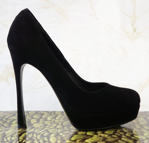 YVES SAINT LAURENT 37.5 Black Suede Gisele 105 Pumps Platform Heels 7
