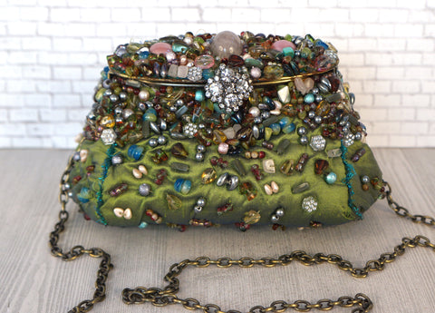 MARY FRANCIS Embellished Pear Green Convertible Clutch Shoulder Bag
