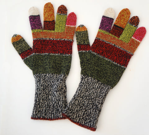DIANE DE CLERCQ Multicolor Marled Wool Knit Gloves One Size BRAND NEW
