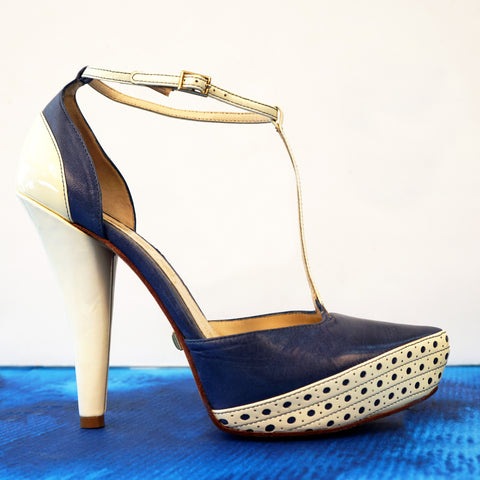 L.A.M.B. 7.5 Denim Blue Leather and Ivory Patent T-Strap Platforms Heels