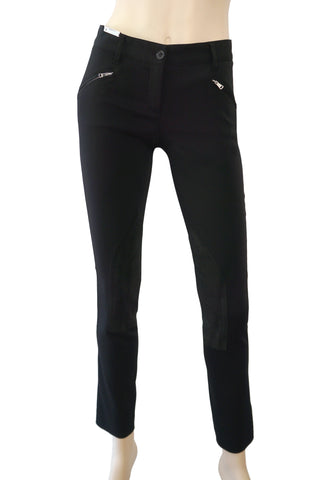 DOLCE & GABBANA Black Stretch Twill Riding Moto Equestrian Skinny Pants 38 US 2