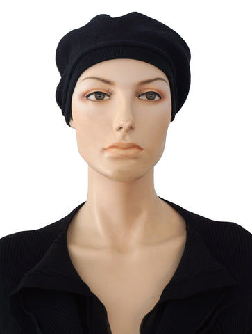 PATRICIA UNDERWOOD Black Knit Beanie Beret Hat BRAND NEW
