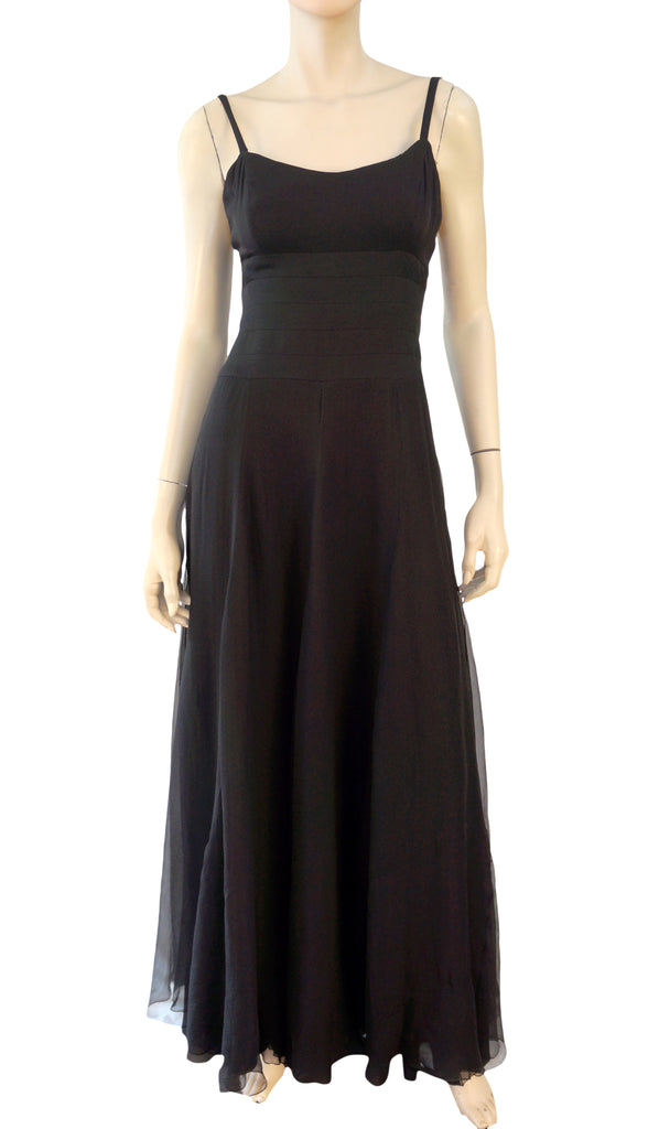 LANVIN Vintage Dress Black Silk Sleeveless Caged Back Gown 38 US 4 6