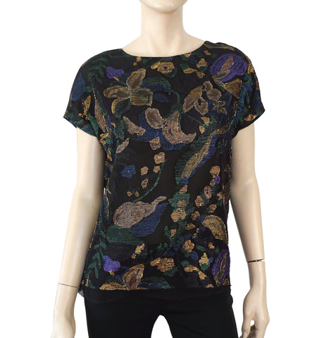 LANVIN Metallic Floral Print Silk Chiffon Top Blouse 36 US 4