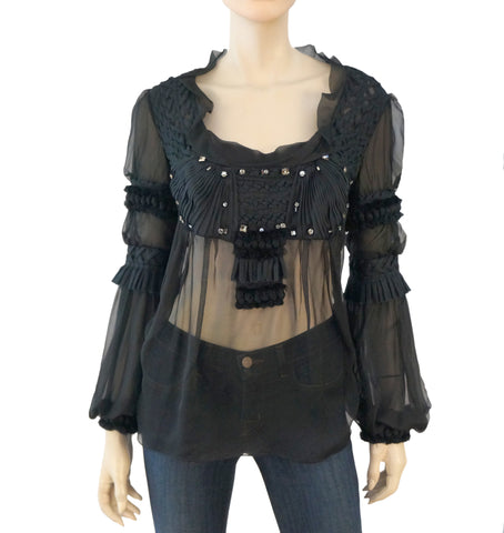 f6427d77f VALENTINO Women's Black Silk Embellished Long Sleeve Blouse L