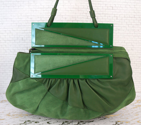 FENDI To You Green Suede and Leather Convertible Clutch Shoulder Bag
