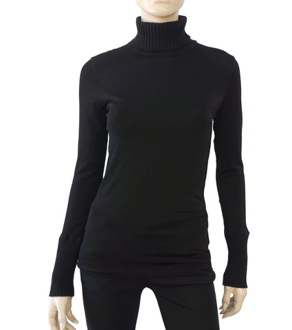JEAN PAUL GAULTIER Layered Black Jersey and Mesh Turtleneck Top Sweater S