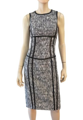 MICHAEL KORS COLLECTION Black White Tweed Leather Trim Pencil Dress 2 NEW