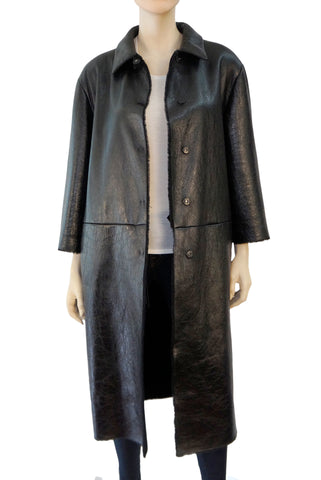 PRADA Women's Coat Black Patent Leather Sheep Fur 42 US 6 Kim Kardashian