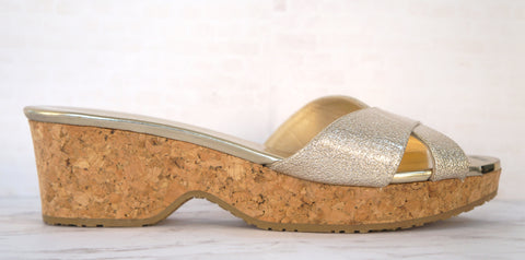 JIMMY CHOO 38 Panna Gold Leather Cork Sandals Slides 7.5 NEW