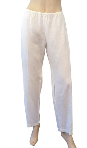 SONG by VALERI GREGORI McKENZIE Off White Linen Wide Leg Pants L BRAND NEW