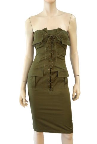 YVES SAINT LAURENT YSL Tom Ford Strapless Army Green Corset Dress FR34 US 2 NWT